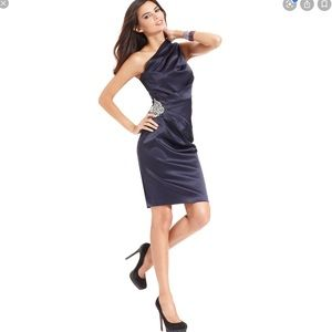 Eliza J Navy satin one sholder embellished  dress